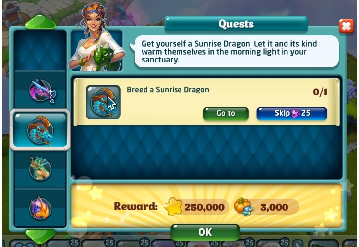 Quest to Breed Sunrise Dragon